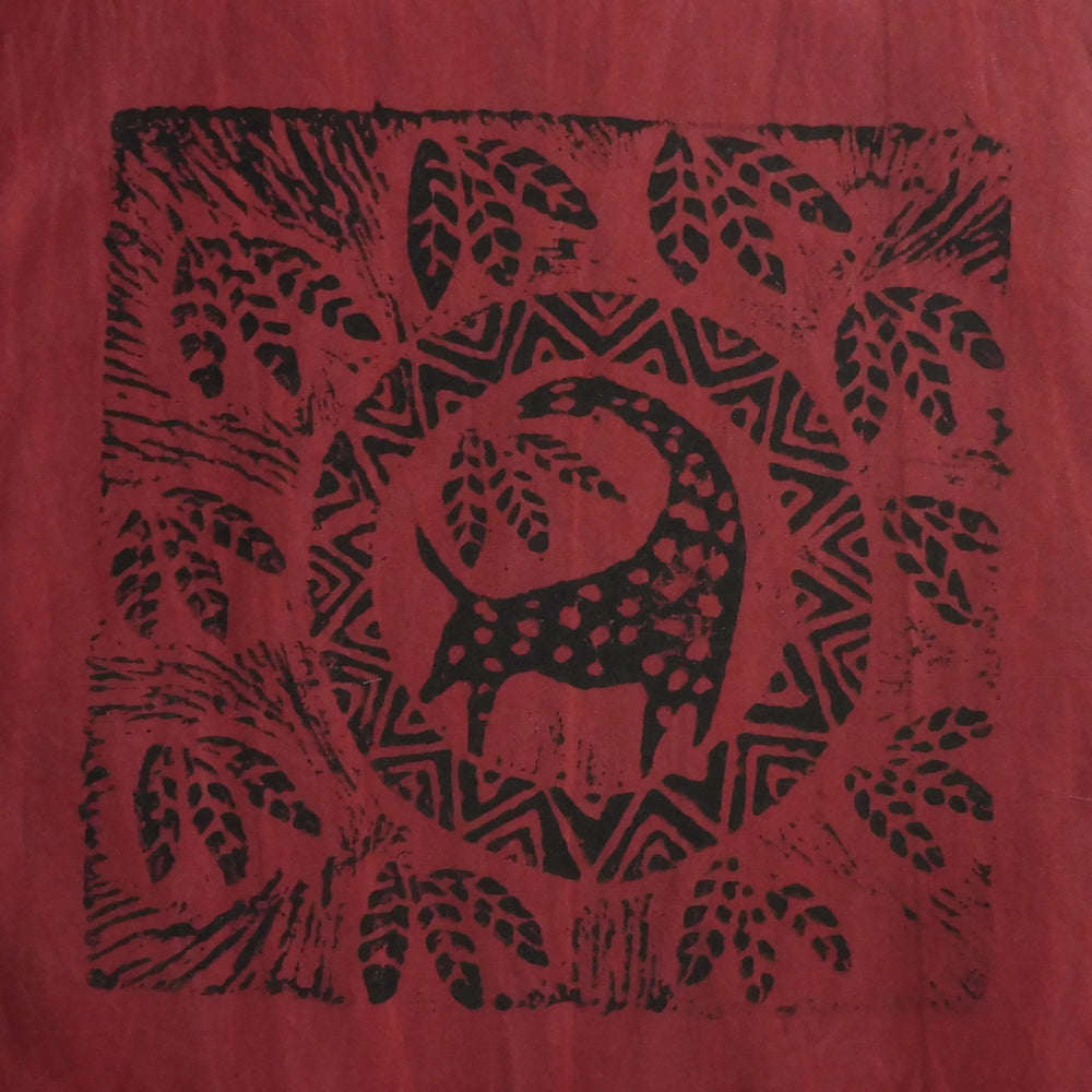 South African Panel - Giraffe Circled in Dark Red
