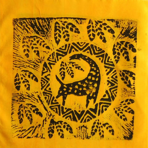 South African Panel - Giraffe Circled in Bright Yellow