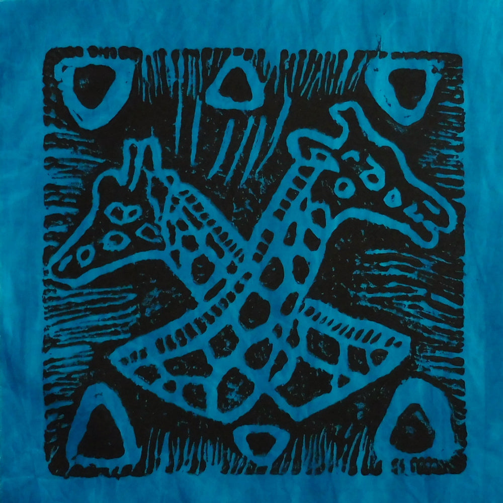 South African Panel - Giraffes Crossed in Blue