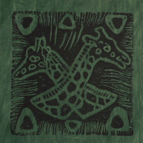 South African Panel - Giraffes Crossed in Dark Green