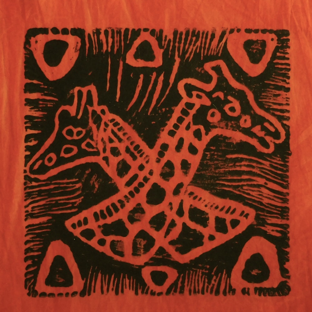 South African Panel - Giraffes Crossed in Orange