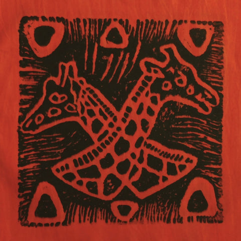 South African Panel - Giraffes Crossed in Reddish Orange