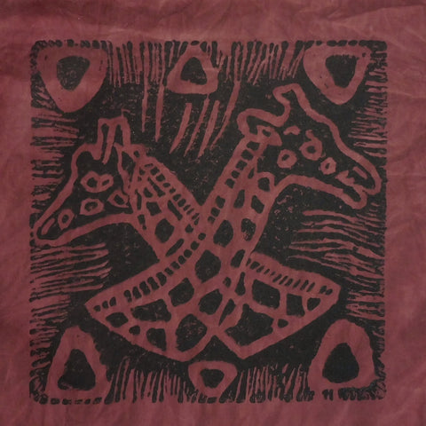 South African Panel - Giraffes Crossed in Brownish Plum