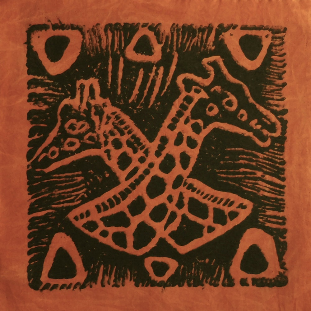 South African Panel - Giraffes Crossed in Pumpkin Orange
