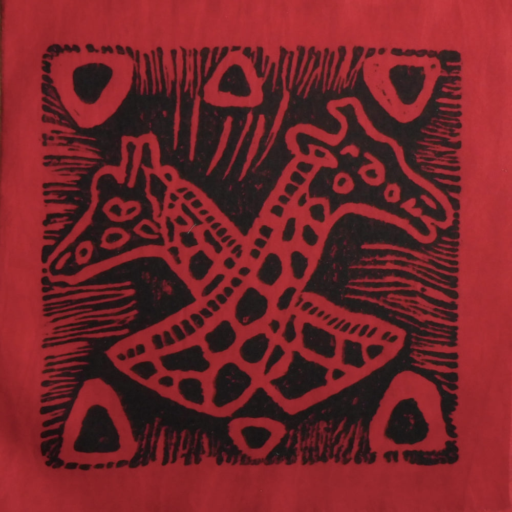 South African Panel - Giraffes Crossed in Red