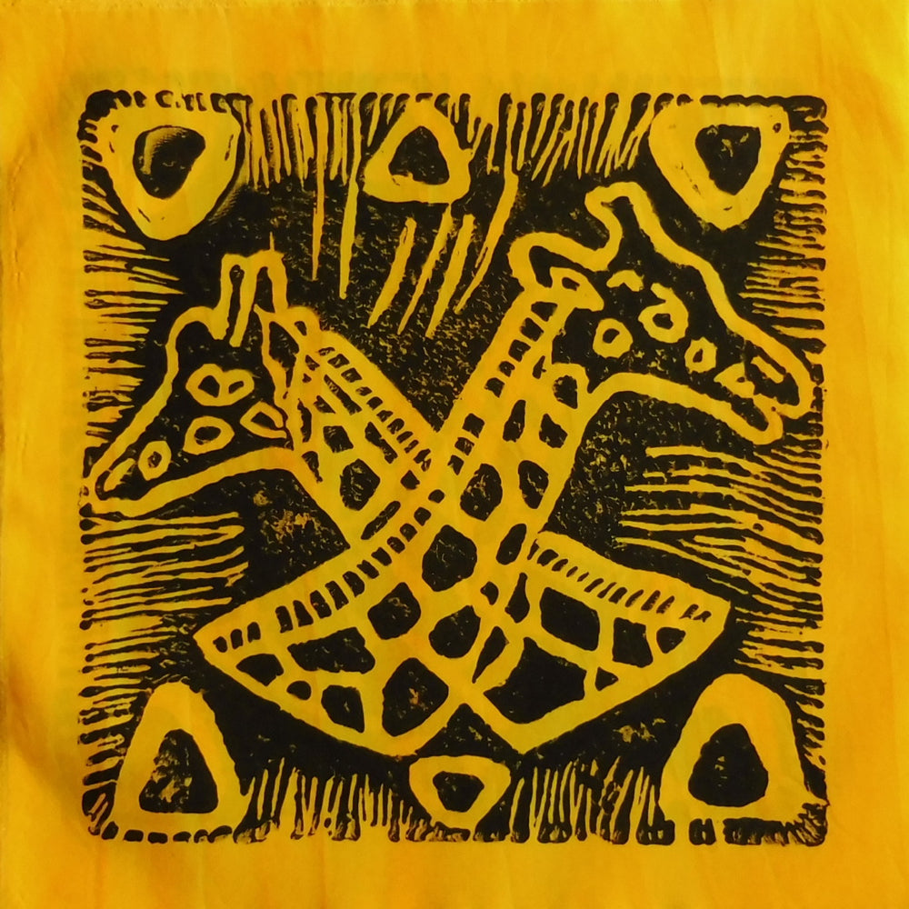 South African Panel - Giraffes Crossed in Bright Yellow