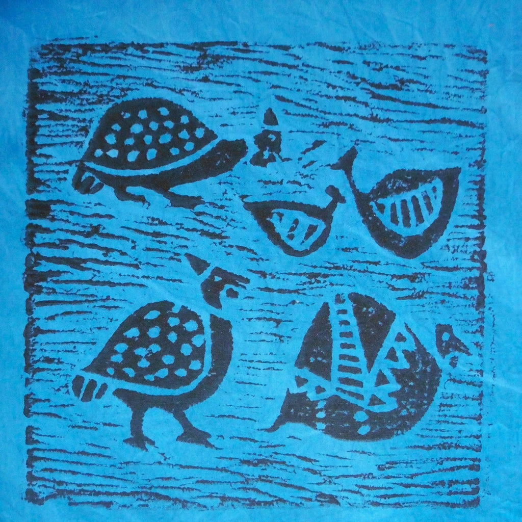 South African Panel - Guinea Fowl in Blue