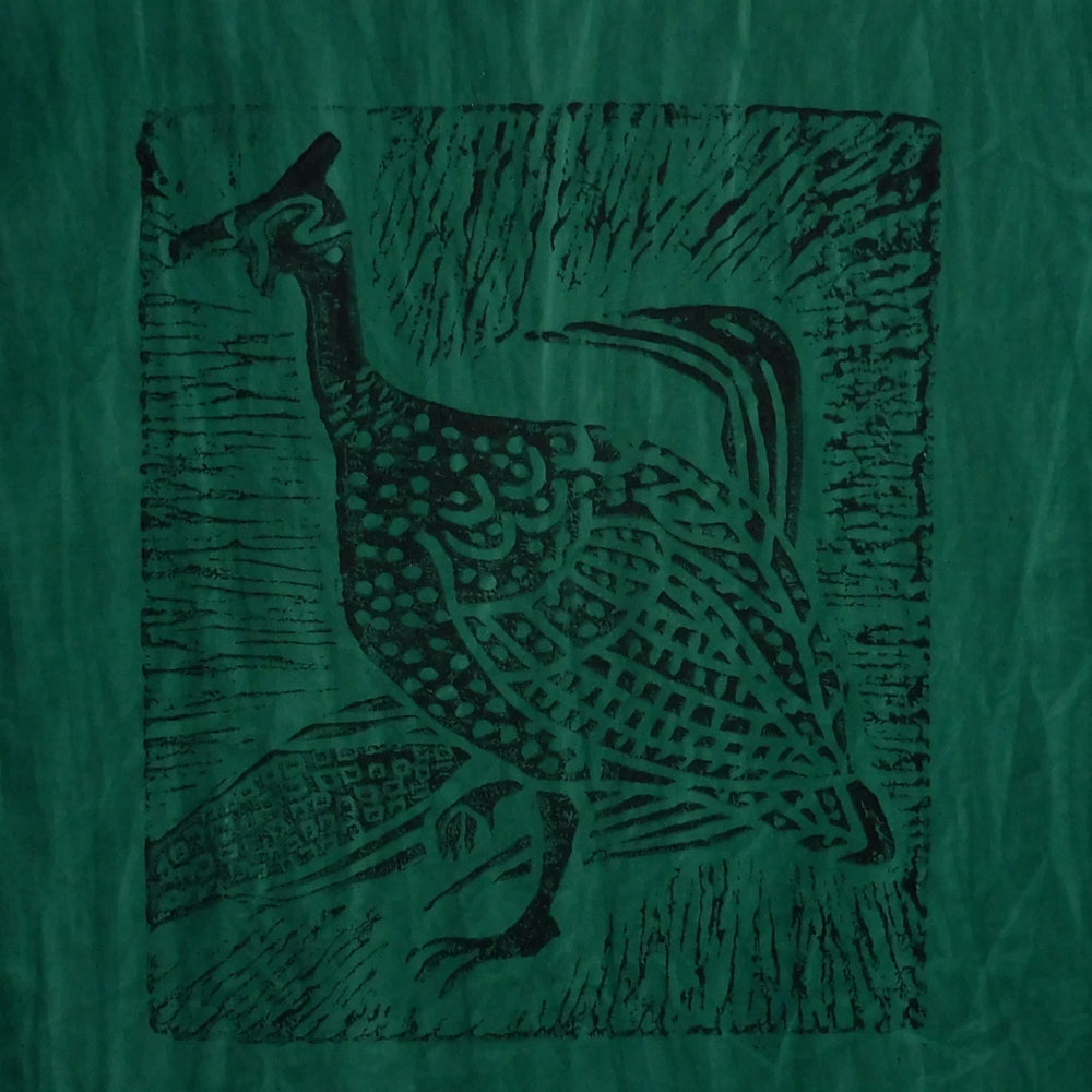 South African Panel - Guinea Hen in Dark Green