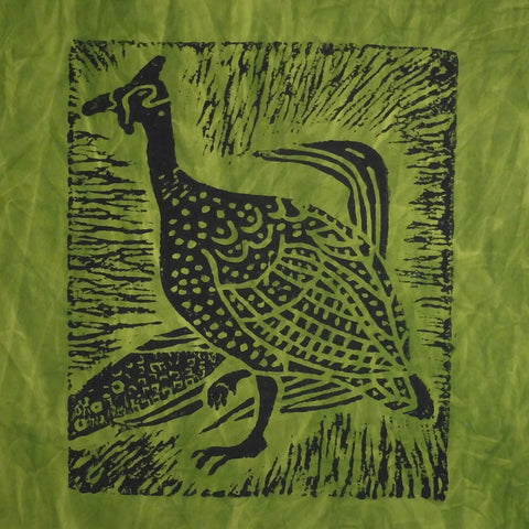 South African Panel - Guinea Hen in Avocado Green