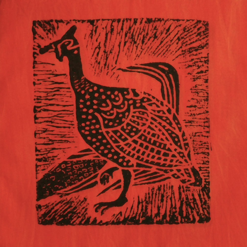 South African Panel - Guinea Fowl in Orange
