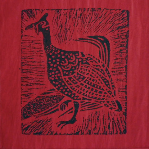 South African Panel - Guinea Hen in Red