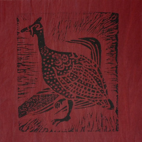South African Panel - Guinea Hen in Dark Red
