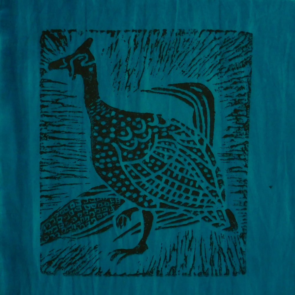 South African Panel - Guinea Hen in Teal