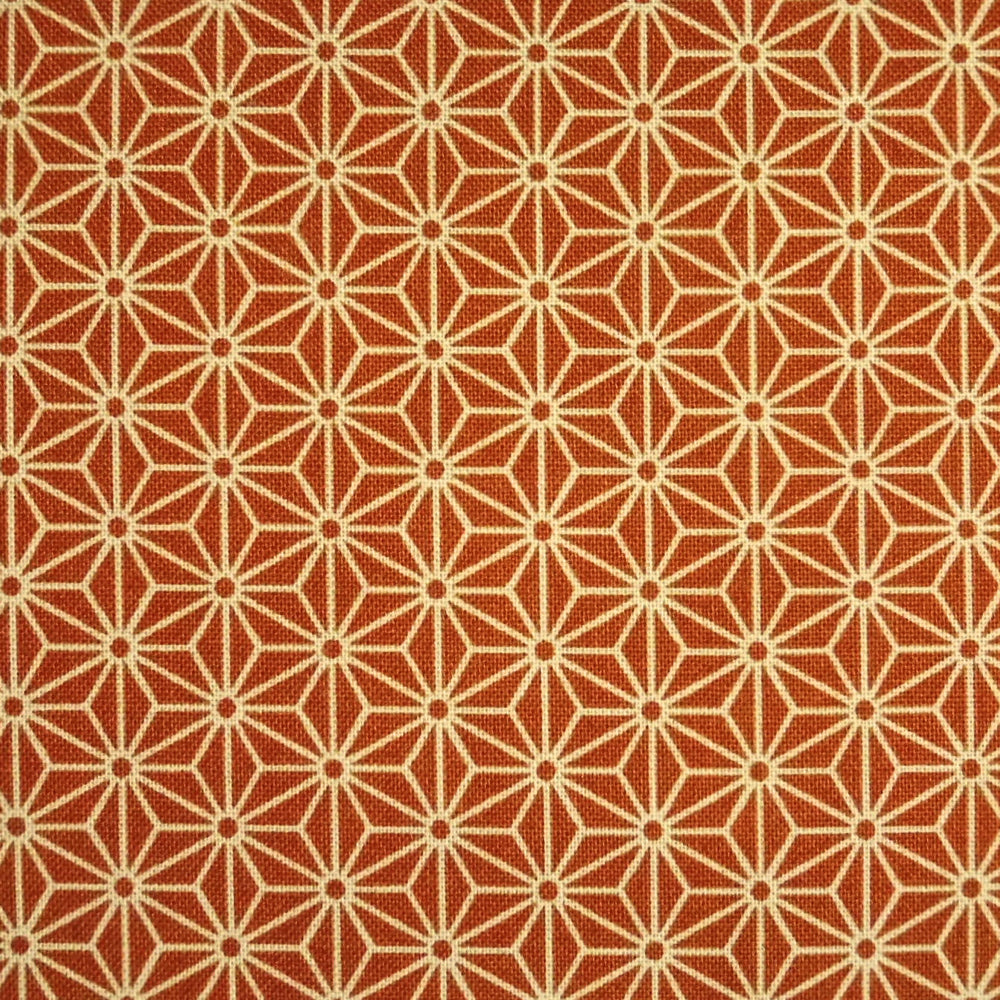 Japanese Quilting Print - Rusty Orange Hemp Leaf
