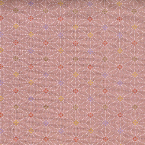 Japanese Quilting Print - Pink Speckled Hemp Leaf