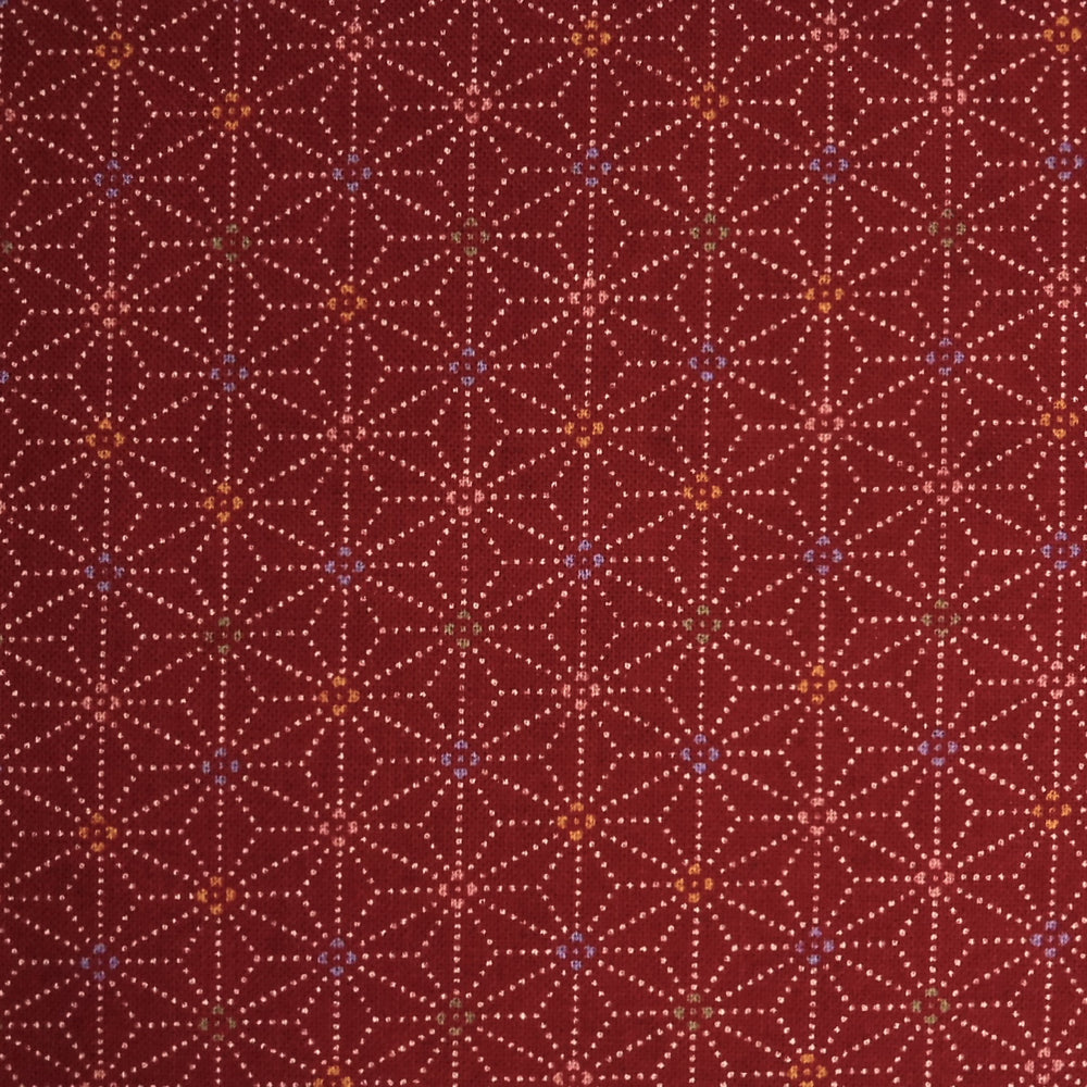 Japanese Quilting Print - Red Speckled Hemp Leaf