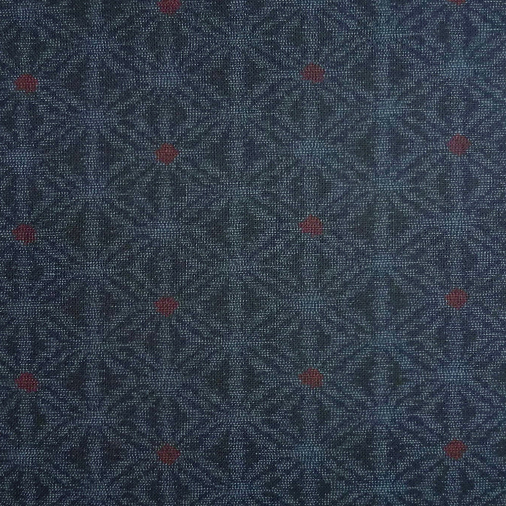 Japanese Quilting Print - Dark Blue and Red Kasuri Hemp Leaf