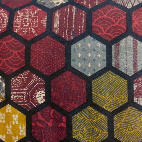 Japanese Quilting Print - Burgundy Hexagons