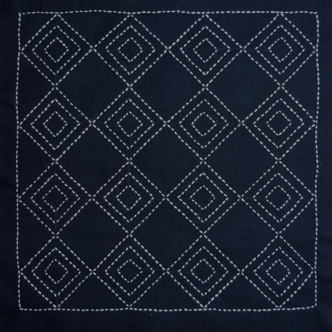 Sashiko Fabric - Tatemimasu (three upright squares) panel number 2036