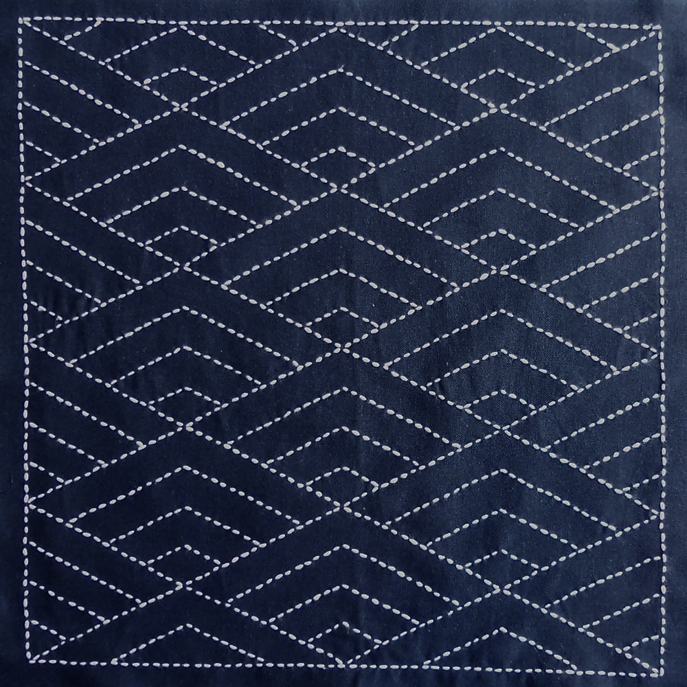 Sashiko Fabric - Hishi Seigaiha (diamond waves) panel number 2037