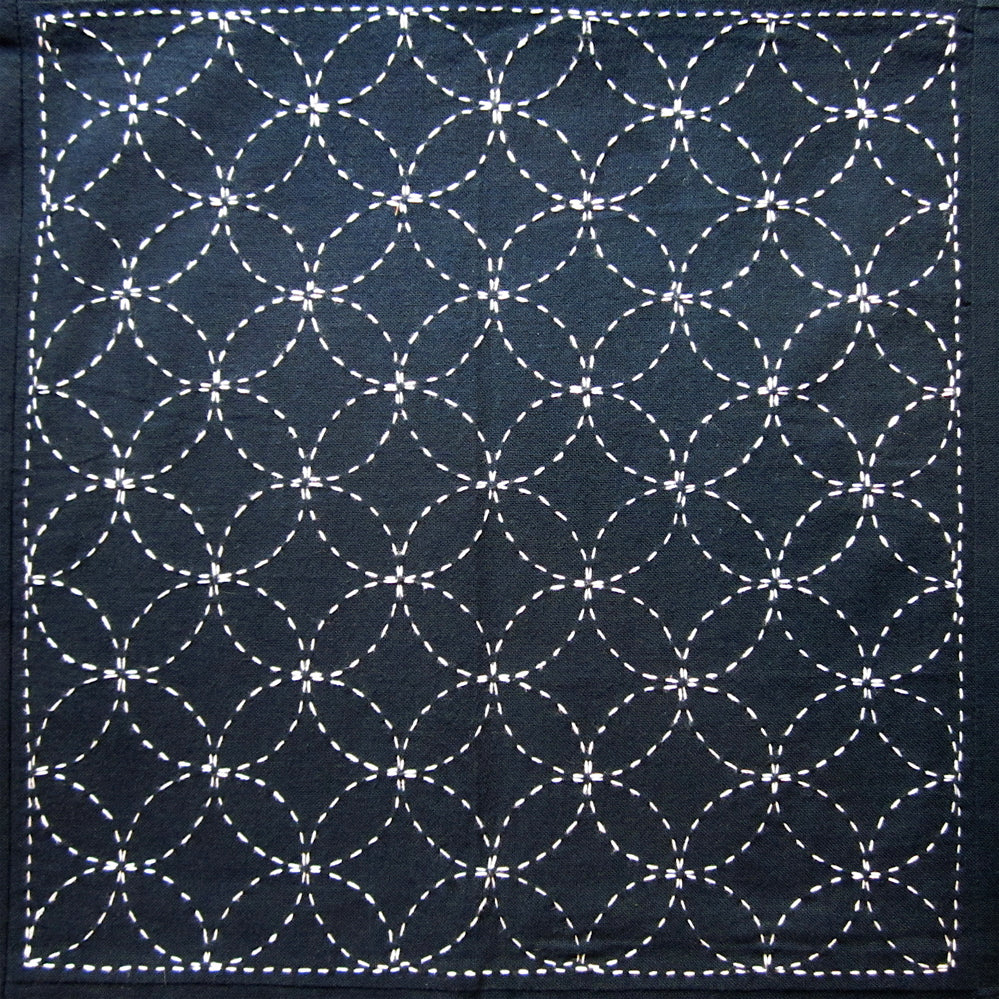 Sashiko Fabric - Shippo Tsunagi (Linked Seven Treasures) panel number 203