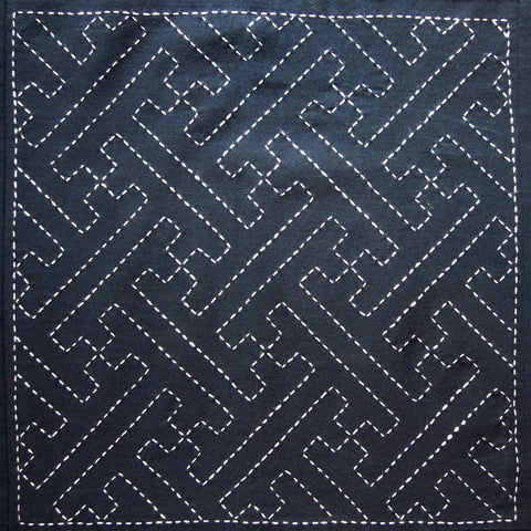 Sashiko Fabric - Sayagata (key) panel number 204