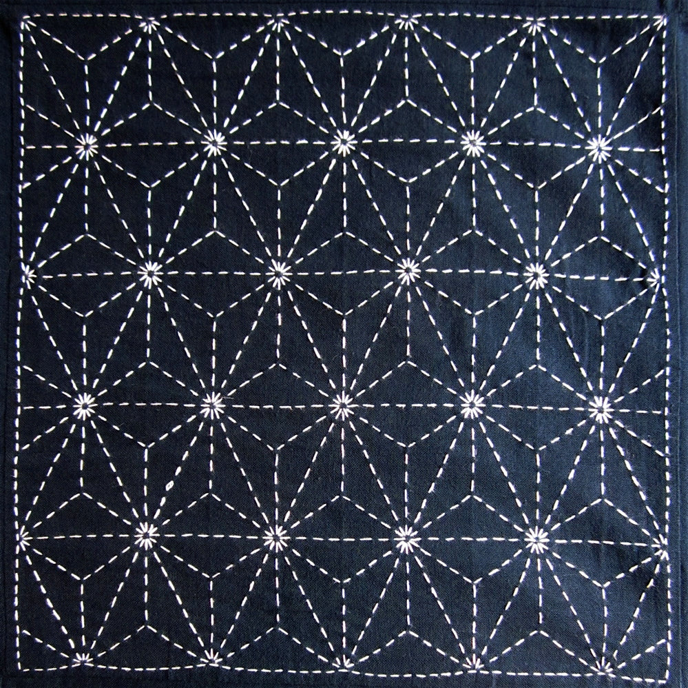 Sashiko Fabric - Asanoha (Hemp Leaf) panel number 206