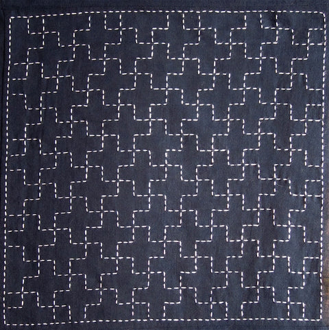 Sashiko Fabric - Jujitsunagi (Linked Ten Crosses) panel number 208