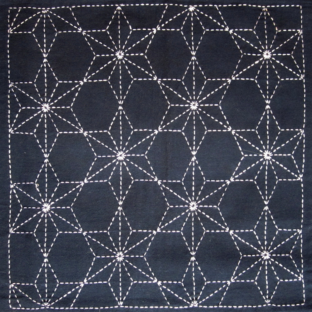 Sashiko Fabric - Tobi Asanoha (Scattered Hemp Leaf) panel number 210