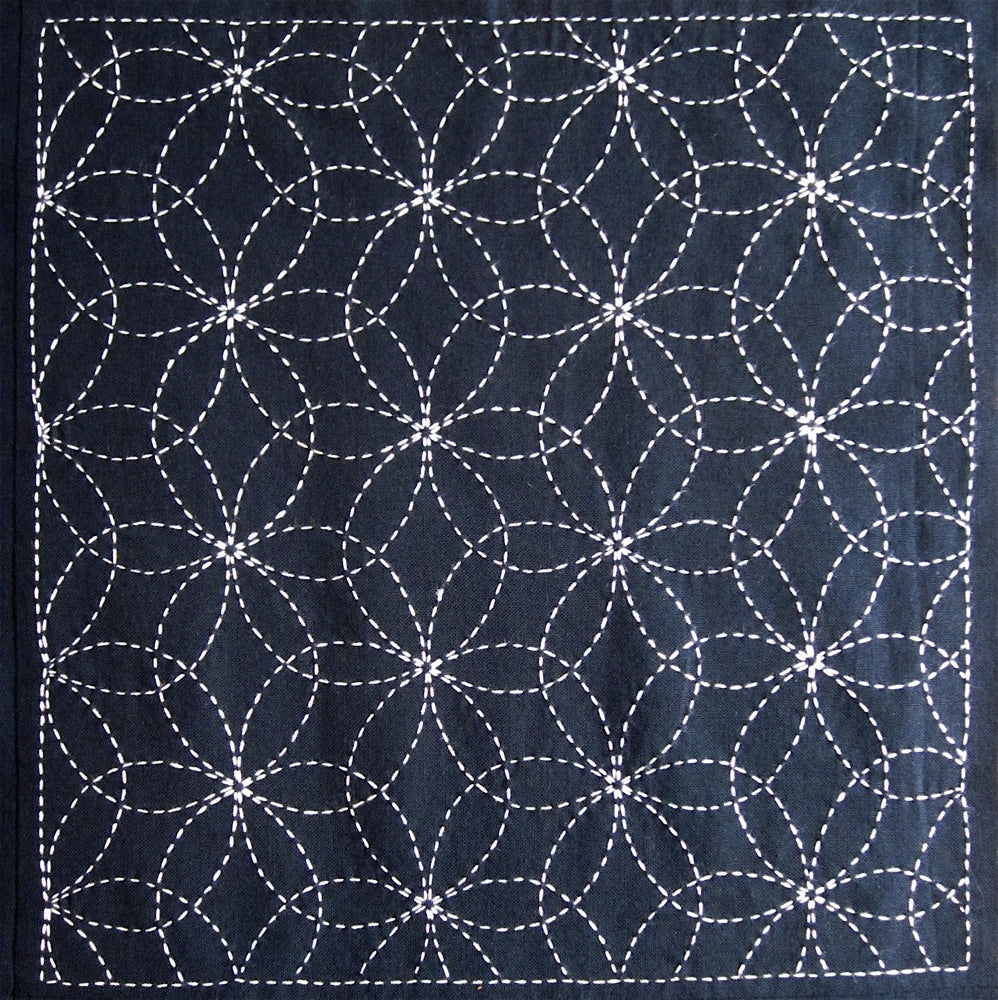 Sashiko Fabric - Hanazashi (Flowers) panel number 212
