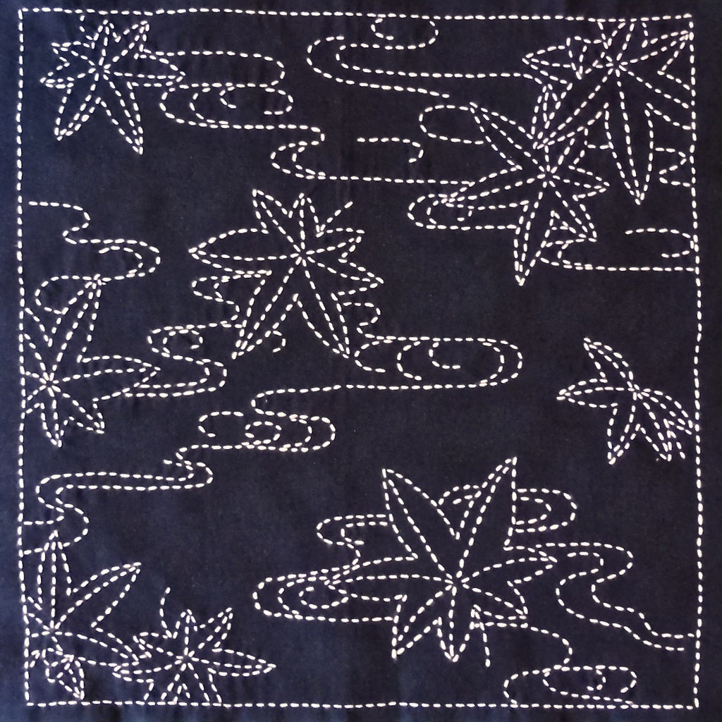 Sashiko Fabric - Momiji (maple leaves) panel number 214
