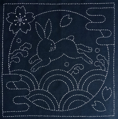 Sashiko Fabric - Rabbit in Meadow - panel number 390
