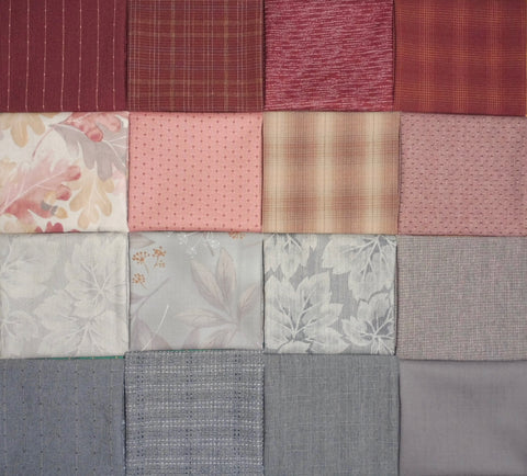 Fabric Bundle - 16 pink and grey fat quarters