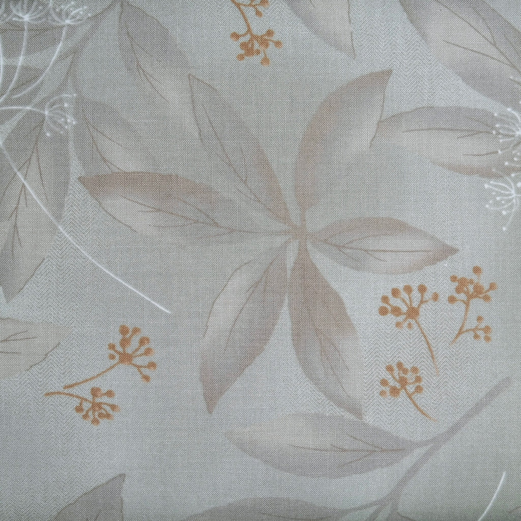 Japanese Quilting Print - Grey Clear Leaf