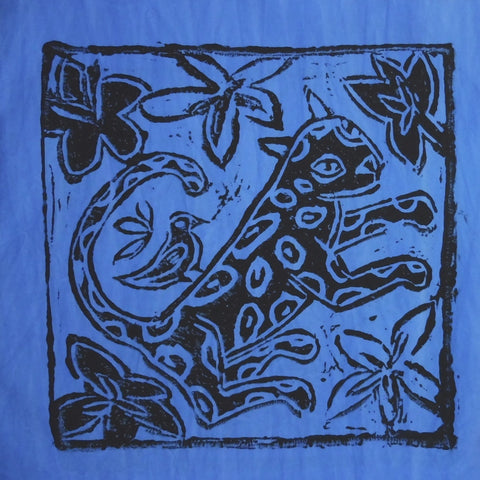 South African Panel - Leopard with Bird in Purplish Blue