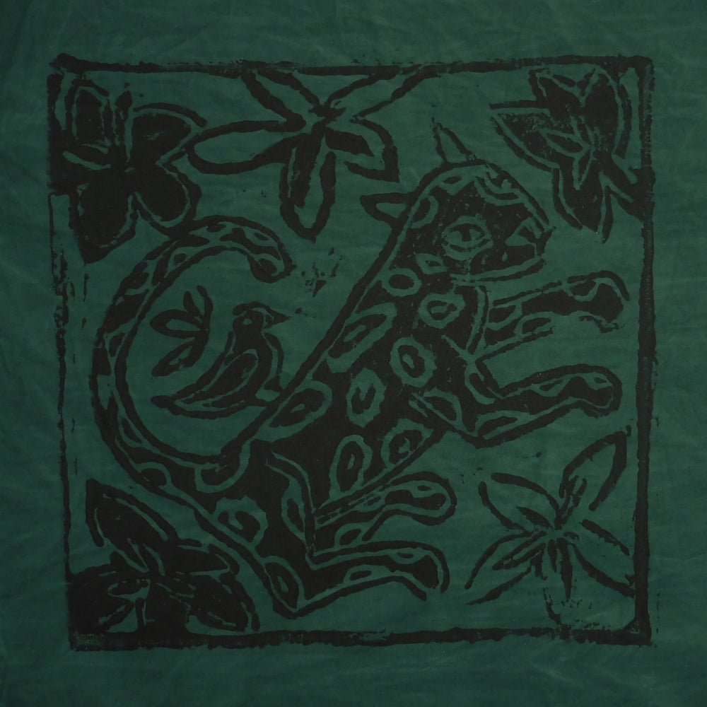 South African Panel - Leopard with Bird in Dark Green