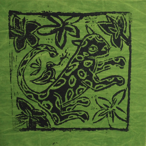 South African Panel - Leopard with Bird in Avocado Green