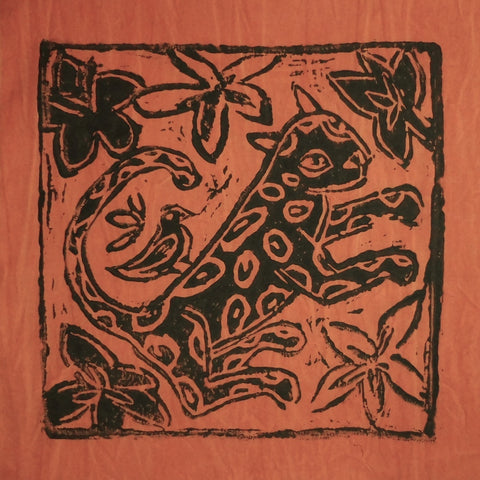 South African Panel - Leopard with Bird in Pumpkin Orange
