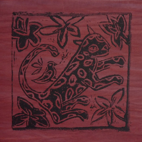 South African Panel - Leopard with Bird in Dark Red