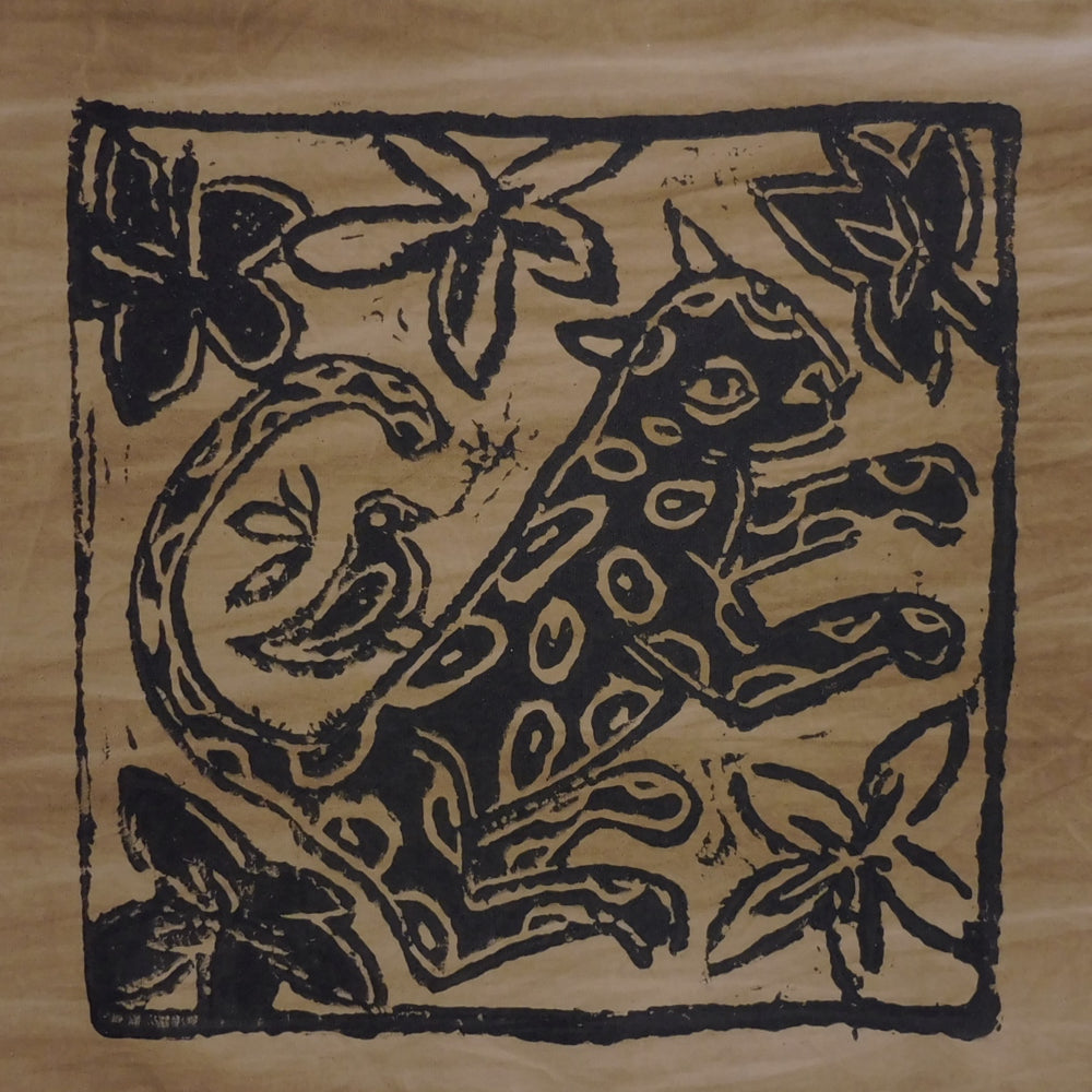 South African Panel - Leopard with Bird in Tan