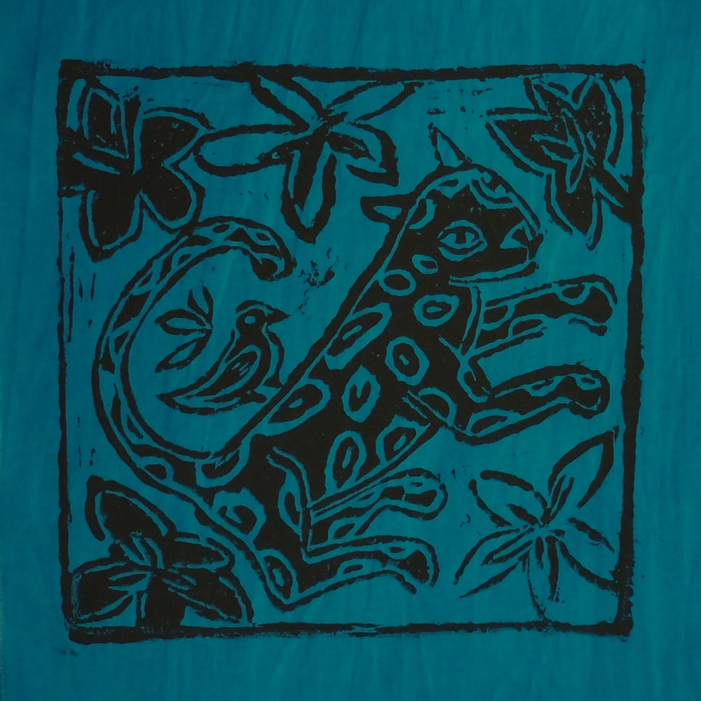 South African Panel - Leopard with Bird in Teal