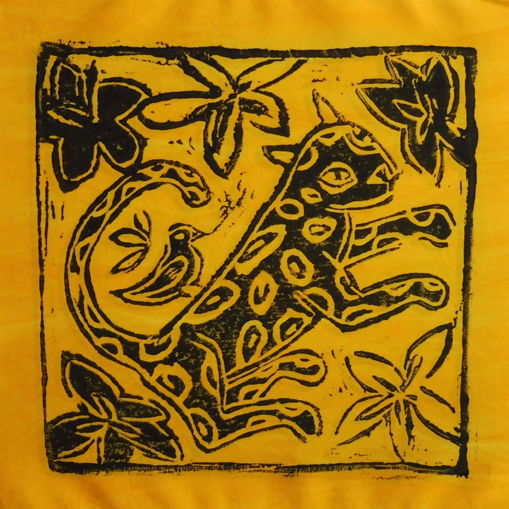 South African Panel - Leopard with Bird in Bright Yellow