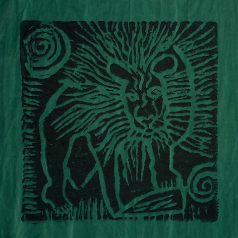 South African Panel - Lion in Dark Bluish Green