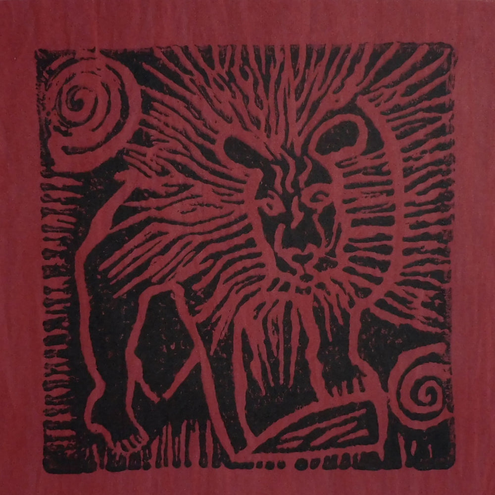South African Panel - Lion in Dark Red
