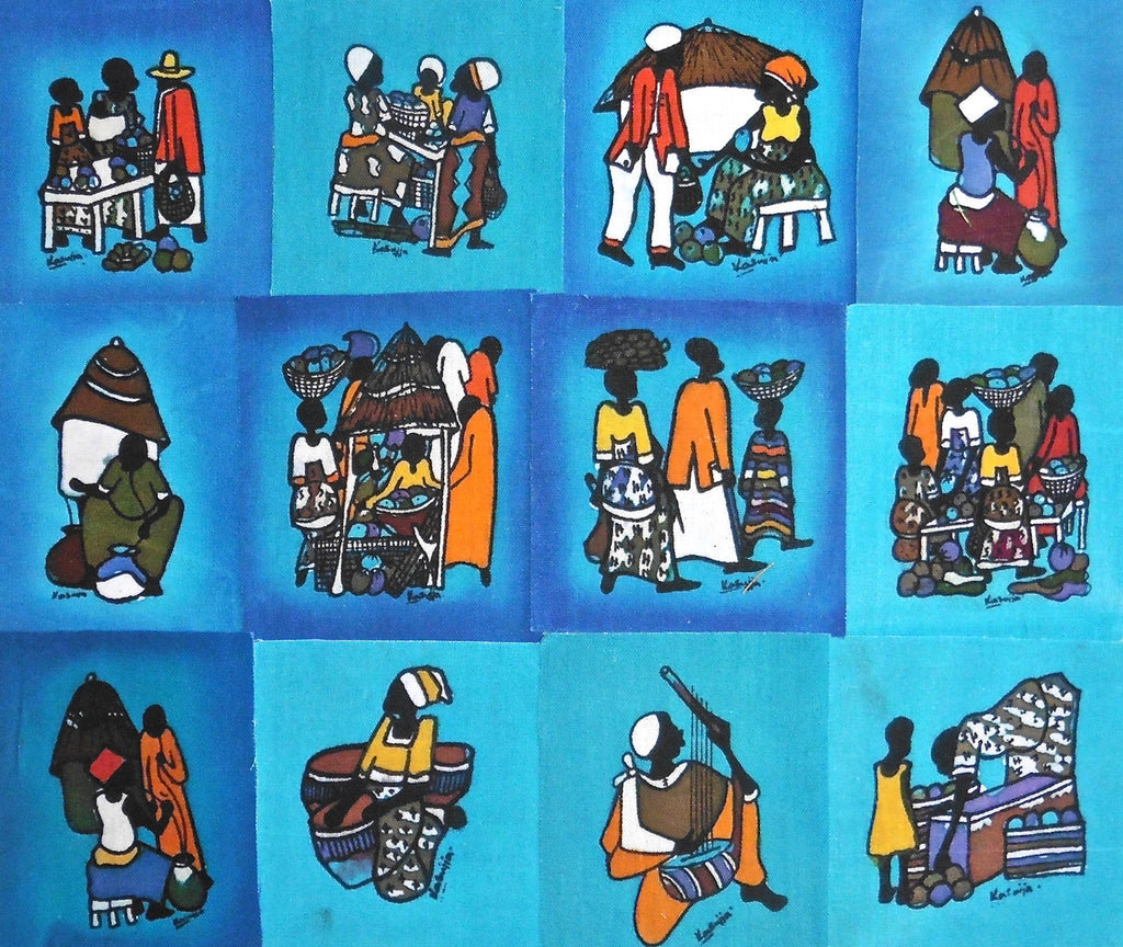 Ugandan Batik Art - Medium Blue Batik