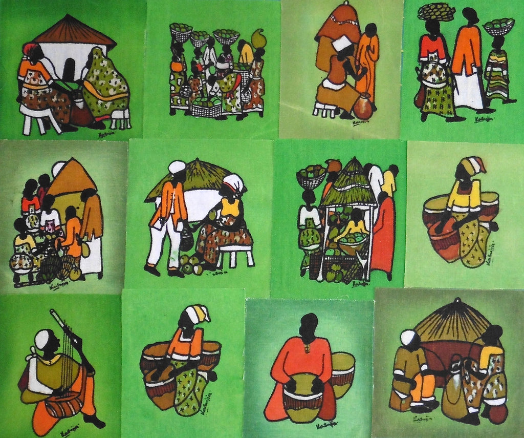 Ugandan Batik Art - Medium Green Batik