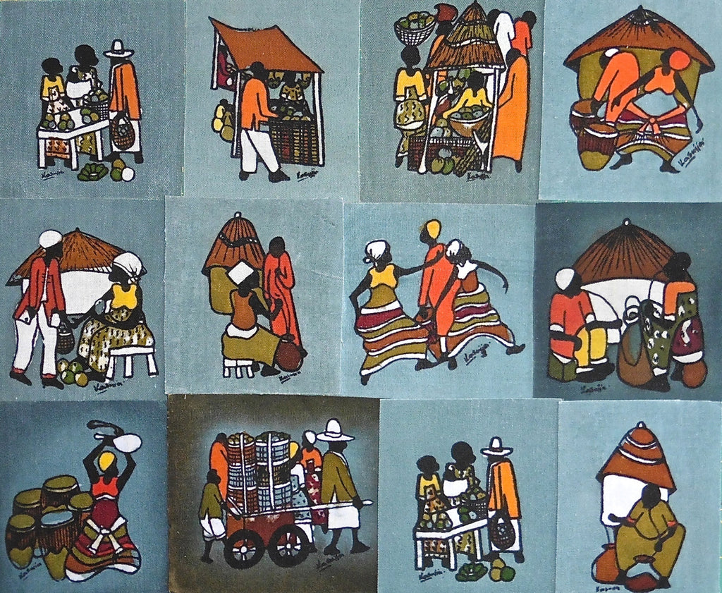 Ugandan Batik Art - Medium Grey Batik