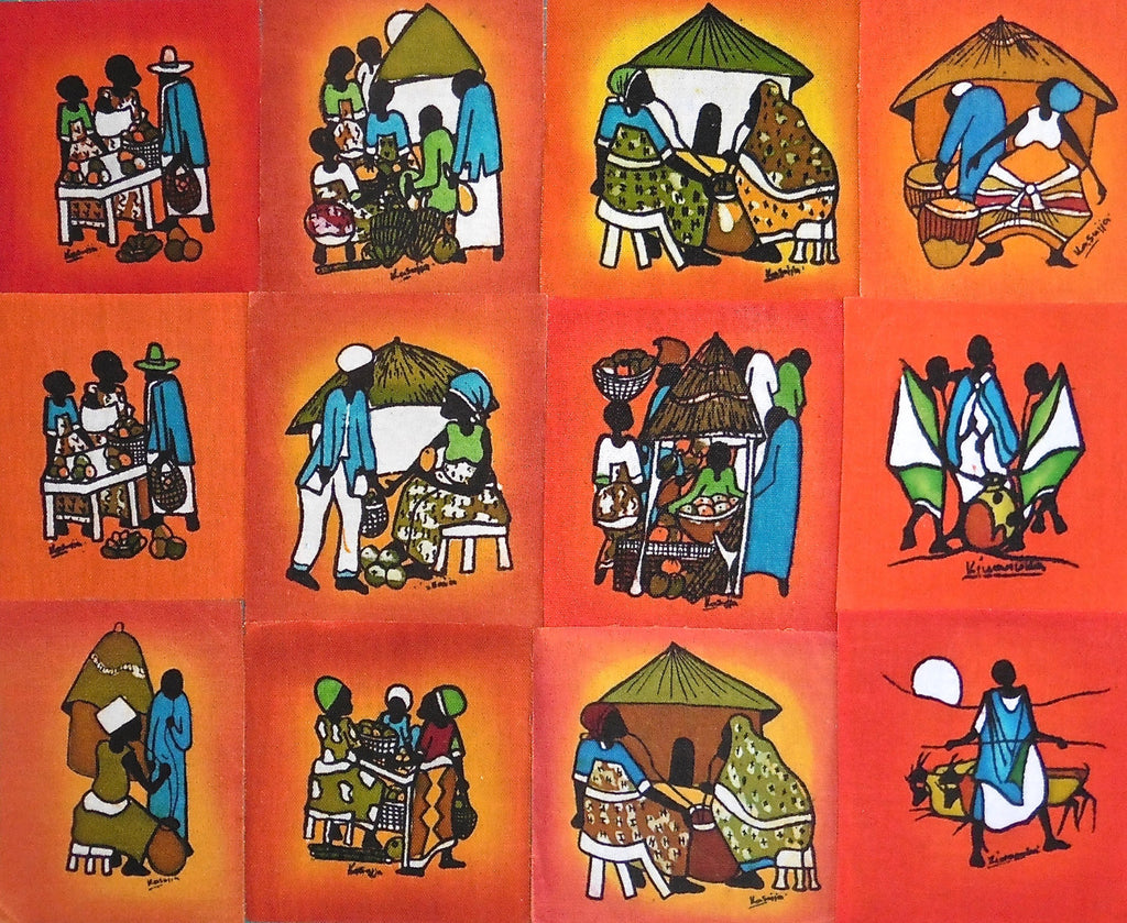 Ugandan Batik Art - Medium Red Batik