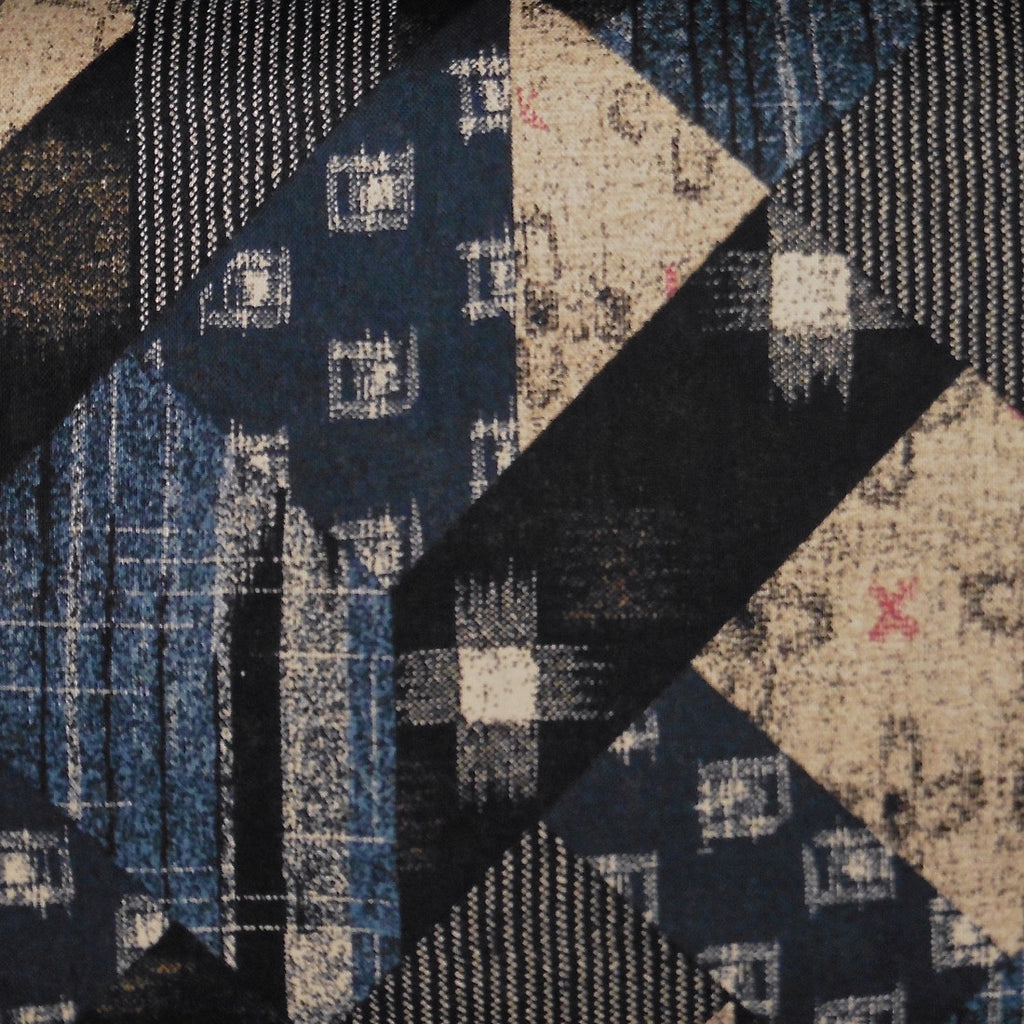 Japanese Quilting Print - Navy Blue Angular Patchwork