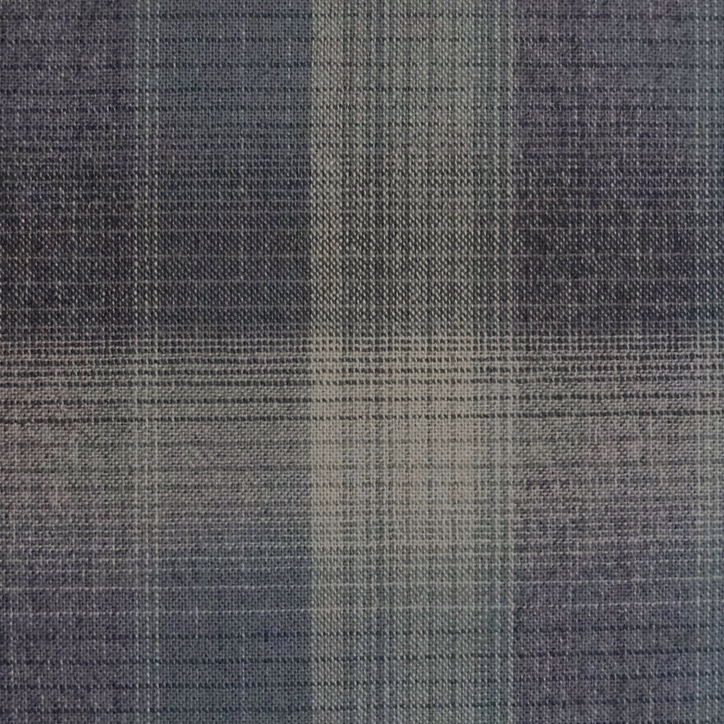 Japanese Yarn Dye - Indigo and Grey Large Plaid